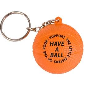 Basketball Key Chain Stress Ball (Economy)