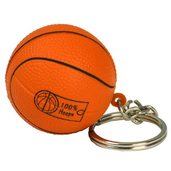 Orange Basketball Key Chain Stress Ball