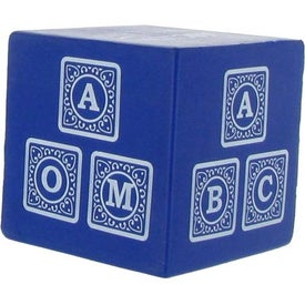 Branded Blue Cube Stress Reliever