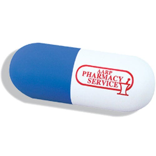 Blue / White Capsule Shaped Stress Reliever