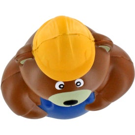 Personalized Construction Bear Stress Ball