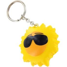 Imprinted Cool Sun Key Chain Stress Ball