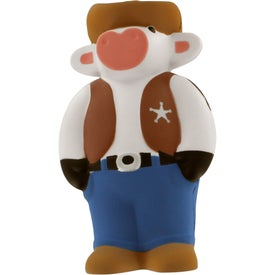 Cowboy Cow Stress Reliever Printed with Your Logo