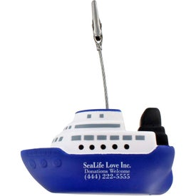 Personalized Cruise Boat Stress Ball Memo Holder