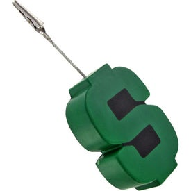 Dollar Sign Memo Holder Stress Ball Branded with Your Logo