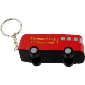 Fire Truck Key Chain Stress Ball Imprinted with Your Logo