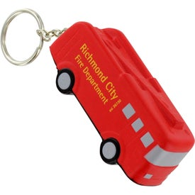 Promotional Fire Truck Key Chain Stress Ball
