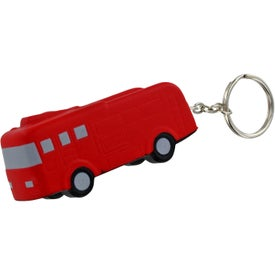 Imprinted Fire Truck Key Chain Stress Ball