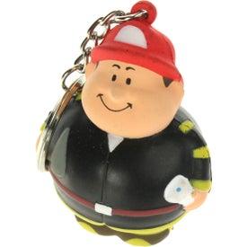 Imprinted Fireman Bert Stress Reliever Keyring