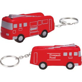 Fire Truck Key Chain Stress Ball (Economy)