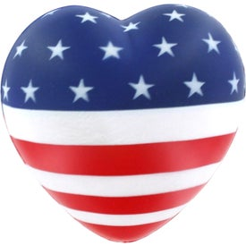 Branded Flag Heart Stress Reliever