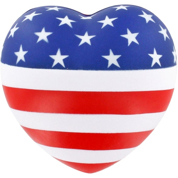 American Flag Patriotic Heart Stress Ball