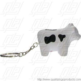 GEL-EE Gripper Milk Cow Key Chain Stress Ball for Your Company