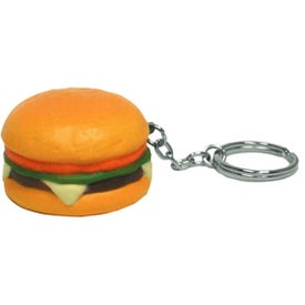 Promotional Hamburger Stress Ball Key Chain