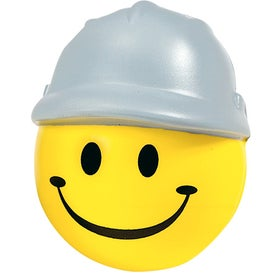 Branded Happy Face with Hard Hat Stress Ball