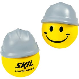 Happy Face with Hard Hat Stress Ball