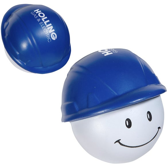 Blue / White Hard Hat Mad Cap Stress Ball