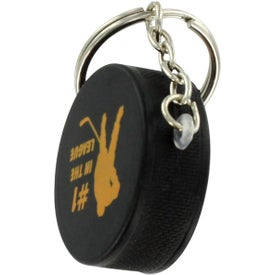 Hockey Puck Key Chain Stress Ball with Your Slogan
