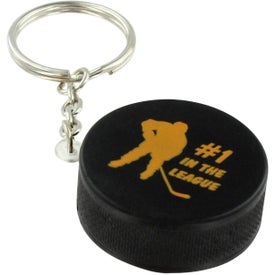 Customized Hockey Puck Key Chain Stress Ball