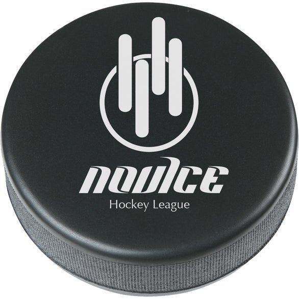 Black Hockey Puck Shape Stress Reliever