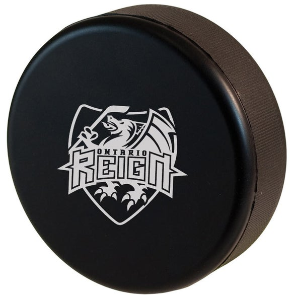 Black Squeezable Hockey Puck Stress Reliever