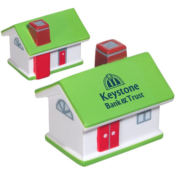Lime Green / White / Red House Shaped Stress Reliever