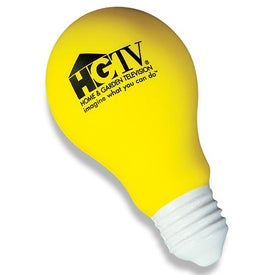 Bright Yellow Light Bulb Stress Ball with Your Logo