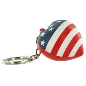 Patriotic Heart Stress Ball Key Chain