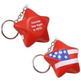 Patriotic Star Stress Ball Key Chain Printed with Your Logo