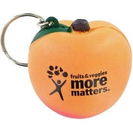 Monogrammed Peach Keychain Stress Toy