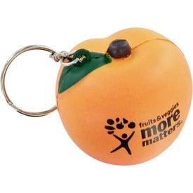 Imprinted Peach Keychain Stress Toy