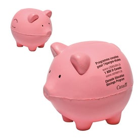 Piggy Bank Stress Shape Imprinted with Your Logo