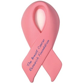 Pink Award Ribbon Stress Reliever for Advertising