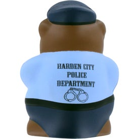 Imprinted Police Bear Stress Ball