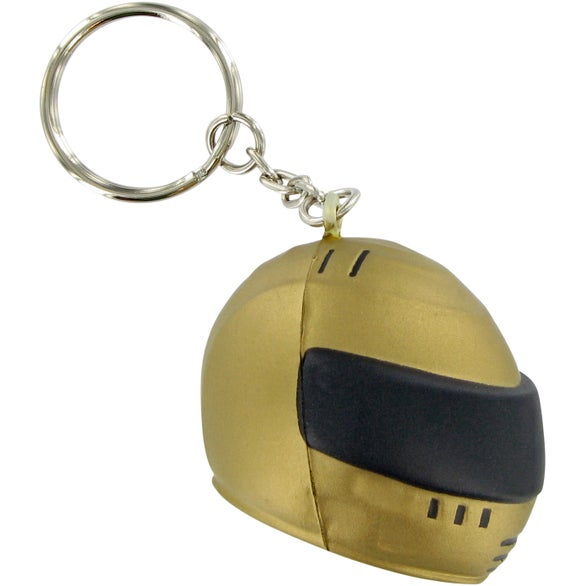 Gold / Black Racing Helmet Keychain Stress Toy