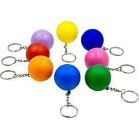 Printed Round Ball Keychain Stress Toy