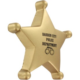 Sheriff's Badge Stress Ball Branded with Your Logo