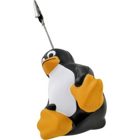 Sitting Penguin Stress Ball Memo Holder Imprinted with Your Logo