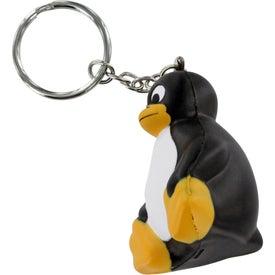 Promotional Sitting Penguin Stress Ball Key Chain