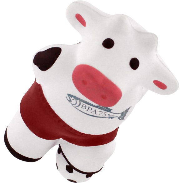 White Soccer Cow Stress Reliever