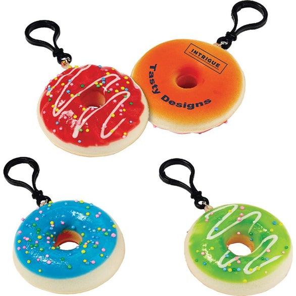 Assorted Colors Squishy Donut Clip-On Keychain