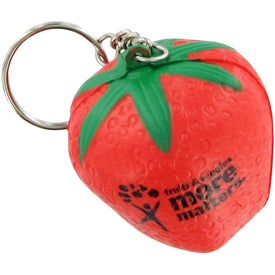 Imprinted Strawberry Keychain Stress Toy