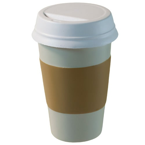 White / Tan Take Out Coffee Cup Stress Reliever