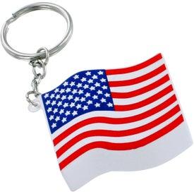 Imprinted US Flag Key Chain Stress Ball