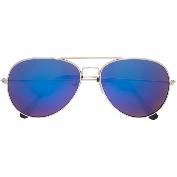Blue Color Mirrored Aviator Sunglasses