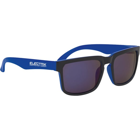 Black / Blue Crescent Mirrored Sunglasses