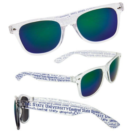 Clear with Blue / Green Mirrored Lens Sunglasses