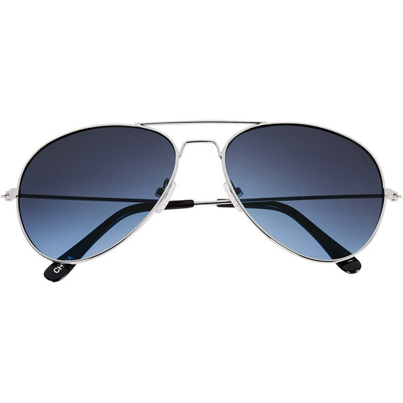 Silver / Blue Ocean Gradient Aviator Sunglasses