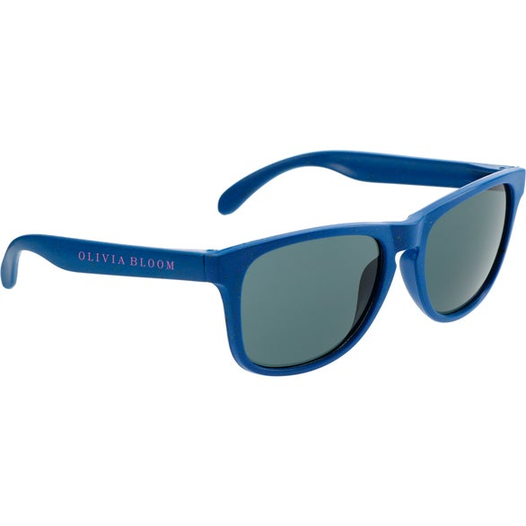 Blue Plastic And Wheat Straw Sunglasses