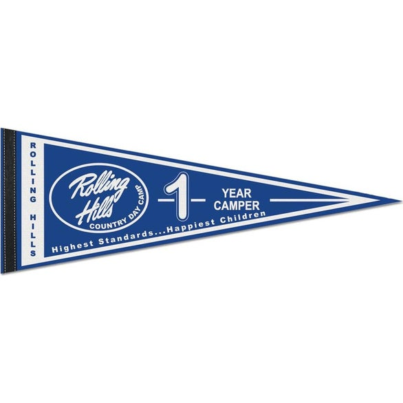 White Classic White Felt Pennant with 1